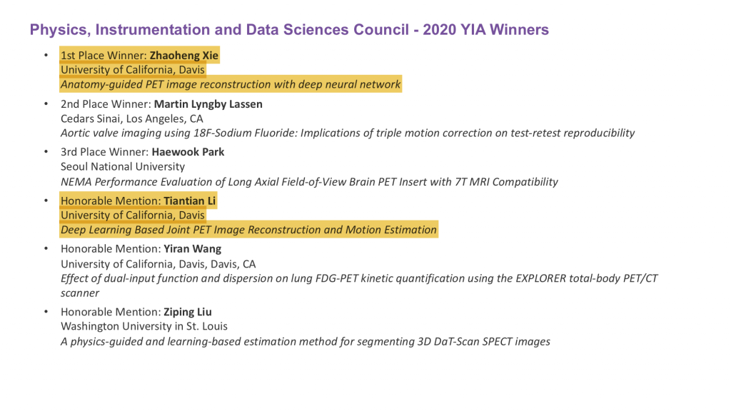 YIA winner list